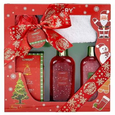 Bath and Body Christmas Gift Box For Women – Red Rose and Jasmine Home Spa Set, Includes Fragrant Bath Salt, a Shower Puff, Christmas Plush Socks and More