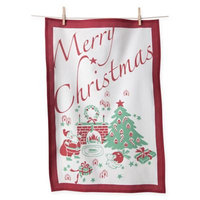 Flour Sack Cotton Merry Christmas Kitchen Towels in Red/White (Set of 2)