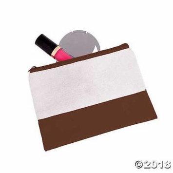 Chocolate Brown & White Makeup Bag