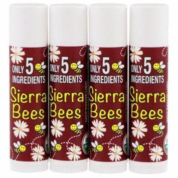 Sierra Bees, Organic Lip Balm, Black Cherry, 4 Pack, .15 oz (4.25 g) Each