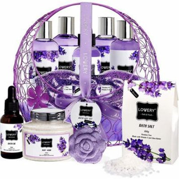 Bath and Body Gift Basket For Women – Lavender and Jasmine Home Spa Set, Including Hot and Cold Gel Eye Mask, Bath Bombs, Massage Oil, Purple Wired Candy Dish and More - 12 Piece Set