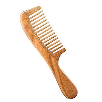 Funwill Green Sandalwood Wide-Tooth Natural Anti-Static Comb