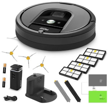 iRobot Roomba 960 Vacuum Cleaning Robot + Virtual Wall Barrier + 3 Extra Sidebrushes + More!