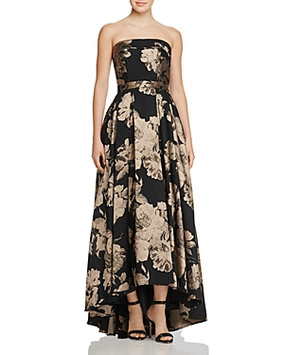 Avery G Aqua Floral Strapless Gown - 100% Exclusive