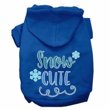 Snow Cute Screen Print Dog Hoodie Blue L