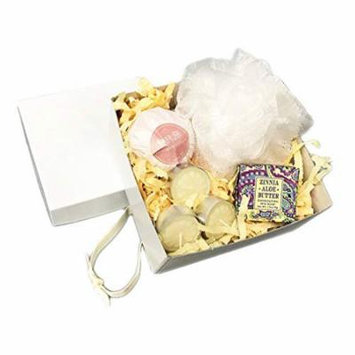 Spa for a Day Bath in a Gift Box Set Includes Barr Bath Bomb, Bath Pouf, Specialty Soap and Aromatherapy Candles (Sugar & Cream)