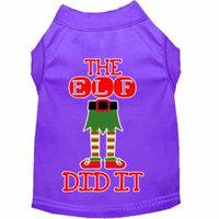The Elf Did It Screen Print Dog Shirt Purple Xs