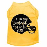 Most Wonderful Time Of The Year (football) Screen Print Dog Shirt Yellow Xxl