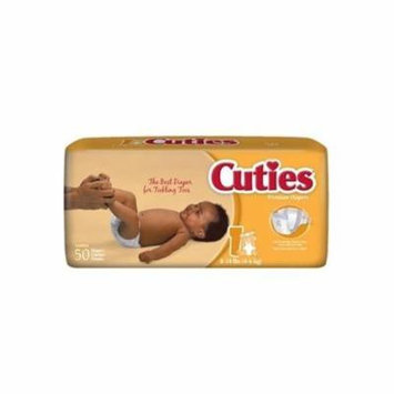 Cuties Diaper, Size 1, Premium Heavy Absorbency, CR1001 - Pack of 50 Diapers