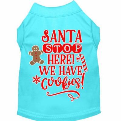 Santa, We Have Cookies Screen Print Dog Shirt Aqua Xxxl