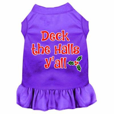 Deck The Halls Y'all Screen Print Dog Dress Purple Xxxl