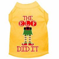 The Elf Did It Screen Print Dog Shirt Yellow Lg
