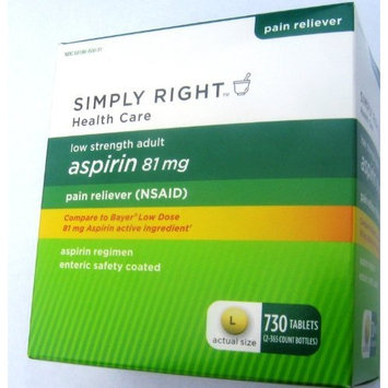 Low Dose Aspirin 81mg Regimen 2 Bottles of 365 Enteric Coated Tablets Total of 730 Tablets