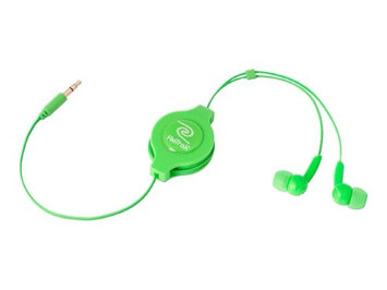 Emerge Technologies Inc Retractable Green Stereo Earbuds - ETAUDIOGRN