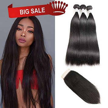 Grade 7A Brazilian Straight Hair 3 Bundles With 44 Lace Closure Free Part 100% Unprocessed Virgin Hair Human Hair Weave Bundles Hair Extensions Natural Color Double Weft(12 14 16 with 10)