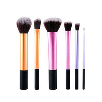 6 Piece Makeup Brush Set Concealer Eyeshadow Cosmetic Foundation Natural Beauty Palettes Vanity Stylish Popular Eyes Face Colorful Rainbow Hair Highlights Glitter Teens Travel Kit