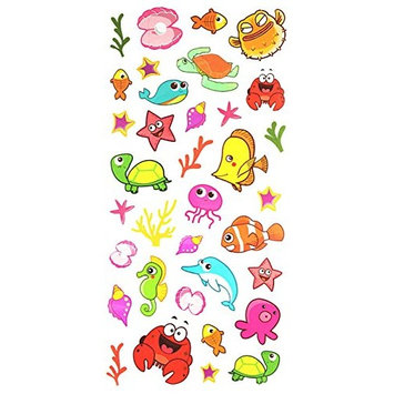 Spestyle Waterproof and nontoxic Fake temporary tattoo stickers for kids, carton tattoos including many sea world animal such as fishes,dolphins,turtles,shells,crabs,sea stars,etc. by SPESTYLE
