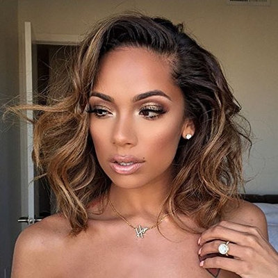 Wicca 180% Thick Ombre Short Curly Brown Lace Front Wigs Side Part Natural Curly Brazilian Human Hair Lace Front Wig With Baby Hair Pre Plucked (10inch 180%, Lace front wig)