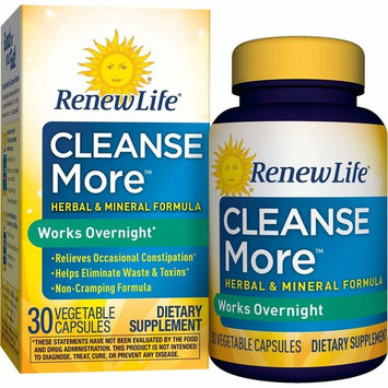 Renew Life Adult Cleanse - Cleanse More, Overnight Constipation Relief - 30 Vegetable Capsules (Packaging May Vary)