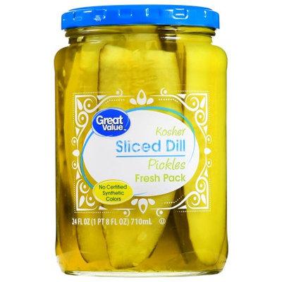 Great Value Kosher Sliced Dill Pickles, 24 Oz