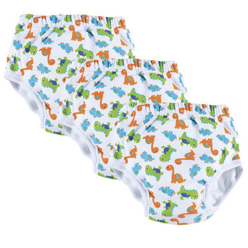 One Step Ahead Boys Potty Training Pants - White, Green, Orange and Blue Dinosaur Design - Waterproof Slim Underwear 3-Pack