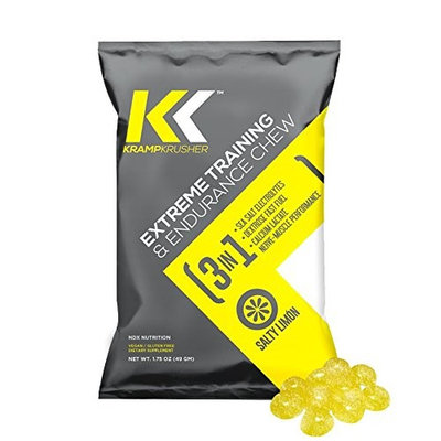 Pre Workout Kramp Krusher, Energy Gummies, (Pack of 12) Training and endurance enhancer, with Electrolytes, Calcium Lactate for optimal performance while training (Lemon, 12 Pack)