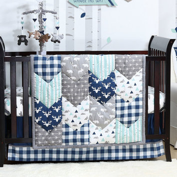 Woodland Trail 3 Piece Baby Boy Crib Bedding Set Patchwork Forest Animal Theme by The Peanut Shell