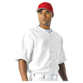 Apparel N4214 Mens Warp Knit Baseball Jersey - White - Small