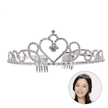 Frcolor Love Heart Rhinestone Bridal Crown Bling Crystal Queen Tiara with Side Comb Glittering Jewelry Decoration for Wedding Engagement
