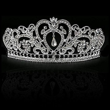Makone Crystal Crowns and Tiaras with Tomb for Girl or Women Birthday Party Wedding Tiaras