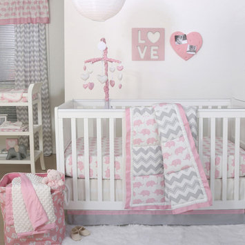 Ellie Pretty Patch Pink Elephant Baby Girl Crib Bedding - 20 Piece Nursery Essentials Set