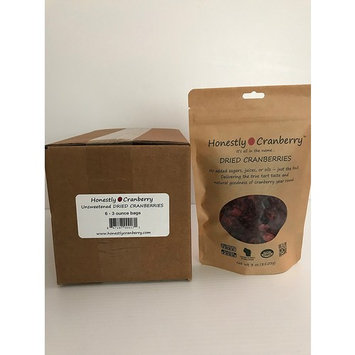 Honestly Cranberry - Unsweetened Dried Cranberries Case (6) of 3 oz bags