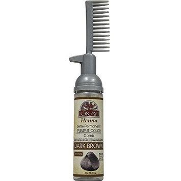 OKAY Henna Semi-Permanent Pump It Color Comb, Dark Brown, 3 Ounce