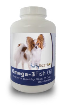 Healthy Breeds 840235141778 Papillon Omega-3 Fish Oil Softgels 180 Count