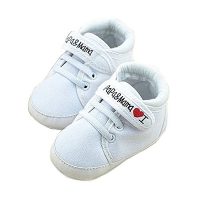 Infant Shoes - SODIAL(R)Newborn Infant Baby I Love Papa Mama Soft Sole Crip Sport Shoes Sneakers Casual 0~6 Months 11cm white