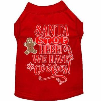 Santa, We Have Cookies Screen Print Dog Shirt Red Xs