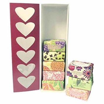 French Milled Botanical Soap Sampler Set of 8 Fabulous Scents, Individually Wrapped Vegetable Based Mini Soaps with Essential Oils, Shea Butter and Natural Extracts (Valentine's Day)
