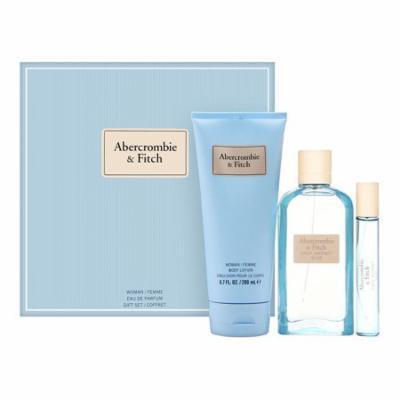 First Instinct Blue by Abercrombie & Fitch for Women 3 Piece Set Includes: 3.4 oz Eau de Parfum Spray + 0.5 oz Eau De Parfum Spray + 6.7 oz Body Lotion