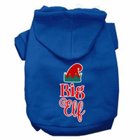 Big Elf Screen Print Dog Hoodie Blue L