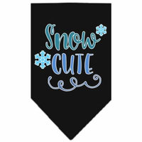 Snow Cute Screen Print Bandana Black Large