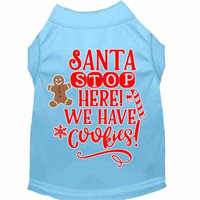 Santa, We Have Cookies Screen Print Dog Shirt Baby Blue Med