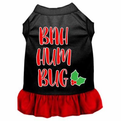Bah Humbug Screen Print Dog Dress Black With Red Sm