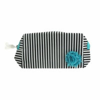 Lancome White And Black Stripe Turqoise Flower Cosmetic Bag New