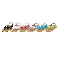 Toddler Little Girls Patent Floral Strap Flip Flops Size 7-4