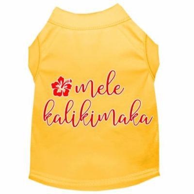 Mele Kalikimaka Screen Print Dog Shirt Yellow Xs