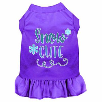 Snow Cute Screen Print Dog Dress Purple Xs