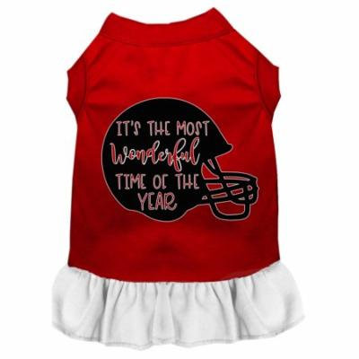 Most Wonderful Time Of The Year (football) Screen Print Dog Dress Red With White Xxxl