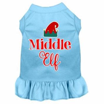 Middle Elf Screen Print Dog Dress Baby Blue Lg