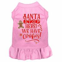 Santa, We Have Cookies Screen Print Dog Dress Light Pink Xxl