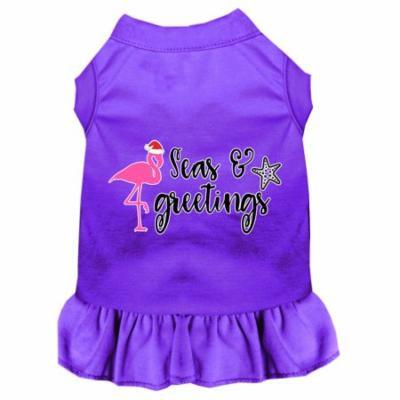 Seas And Greetings Screen Print Dog Dress Purple Lg